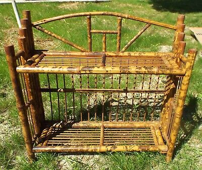 Vintage Bamboo Collapsible Book Case Book Shelf  21 x 21 x 7""