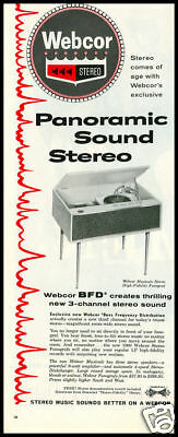 1959 vintage ad for Webcor stereo phonogrpahs