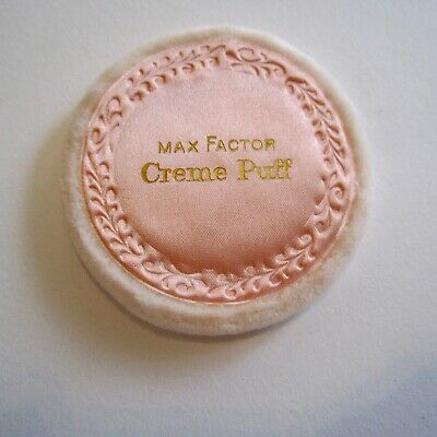 """Vintage Max Factor Creme Puff 6.5cm wide (2.5"""") Pink Velvet New For Compacts etc"""