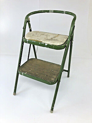 Vintage STEP STOOL Shabby Green metal kitchen mid century cottage industrial 60s