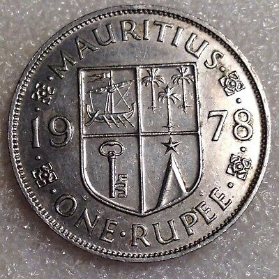 Mauritius 1 Rupee 1978 Larger Copper-Nickel Coin