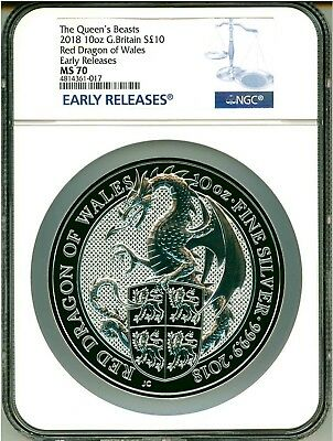 2018 Great Britain S10PND 10 Oz. Silver The Queen's Beast Red Dragon ER NGC MS70