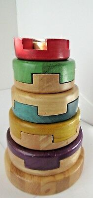 2010 Five Tier VINTAGE  P'Kolino Authentic Chinese Wooden Stacking Puzzle