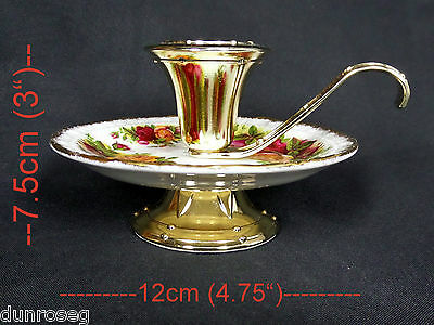 OLD COUNTRY ROSES CANDLE HOLDER, 1st QUALITY, VGC, MADE IN ENGLAND, ROYAL ALBERT