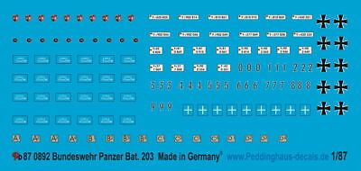 Peddinghaus-Decals 1/87 0892 Bundeswehr Panzerbatallion 203