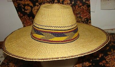 Authentic African handwoven straw hat from Ghana good for sun protection