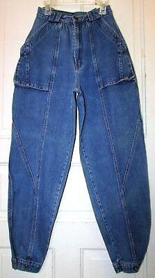 80s Vtg Womens Large Pockets 100% cotton Tapered Fit Jeans w/ Ankle Snaps 7