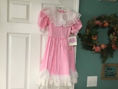 Vintage Girls DOLLS & DARLINGS Pink & White Dress Size 8 (CON12)