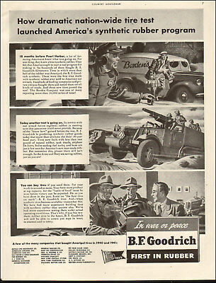 1943 WW2 Ad BF GOODRICH Synthetic Rubber Program Tires on Tank Destroyers 061018