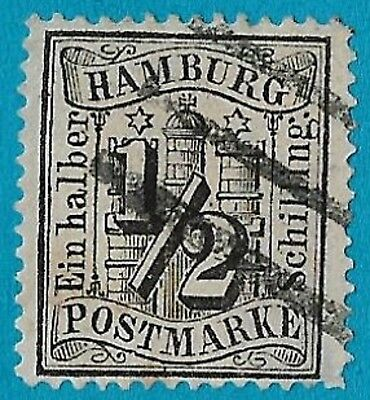 + 1864 Hamburg German States Arms Crest Tower Castle Stars #13 A1 1/2s used