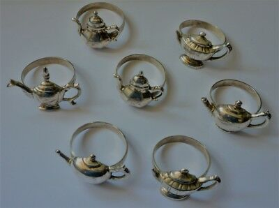 7 Lovely Silver Plate Teapot Napkin Rings  Early American Tea Pots Patterns