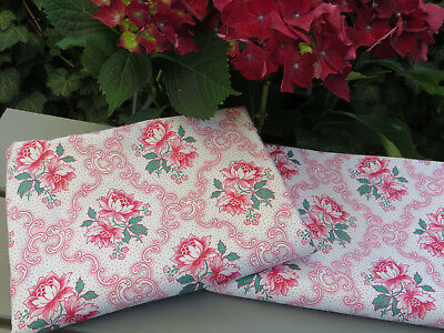 "Unused  Set Of Two (2) Pillowcases Euro Shams  Red Flowers Medallions 31""by30"""