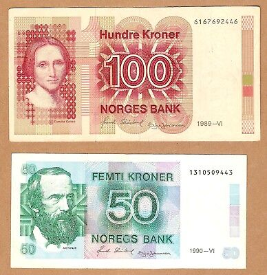 1989 , 1990  NORWAY Note 100 - 50 KRONER , LOT of 2 pc.