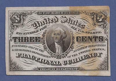 1864-1869 3¢ 3rd Issue Fractional Currency,FR 1227,Washington Bust,VF,Nice!