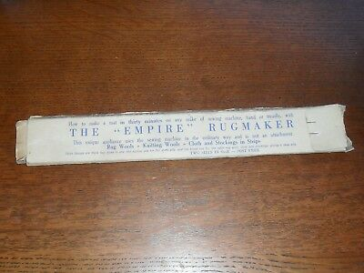 Vintage Sewing The Empire Rugmaker Tool Scotland Made Sewing Machine Attachment.