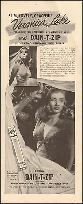 1941 vintage AD Crown DAIN T ZIP revolutionary ZIPPER w/ Veronica Lake 110617