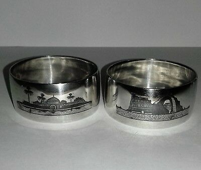 Pair of Iraqi Marsh Arab Solid Silver Niello Oval Napkin Rings 40.3 gms Signed
