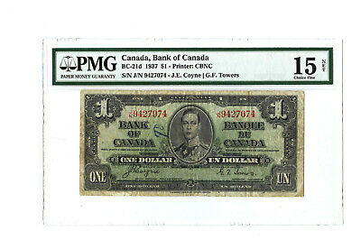 1937 $1 CANADA PMG 15 NET BC-21d CHOICE FINE BANKNOTE LARGE TEAR WITH ANNOTATION