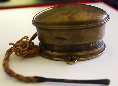 Antique Old Brass Handcrafted Betel Nut Box with original spatula