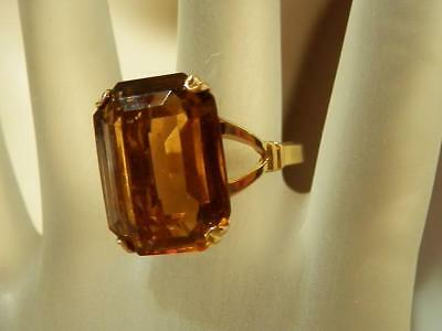AVON Signed Vintage 70's 12CT Amber Brown Crystal FABulous Ring Size 8.25 530my8