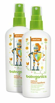 Babyganics Natural DEET-Free Insect Repellent 6oz Spray Bottle Pack of 2 NEW