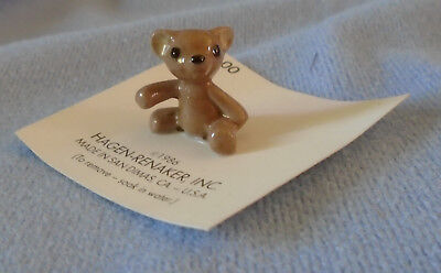 Vintage Hagen Renaker Brown Brother Teddy Bear - 1986 - Still On Card