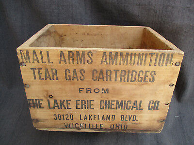 Vintage Tear Gas Cartridges Small Arms Ammunition Wood Crate Lake Erie Chemical