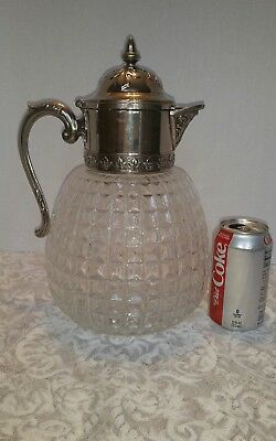 HUGE Honeycomb Crystal Water Pitcher With Italian Silver Plate Spout, Vintage.