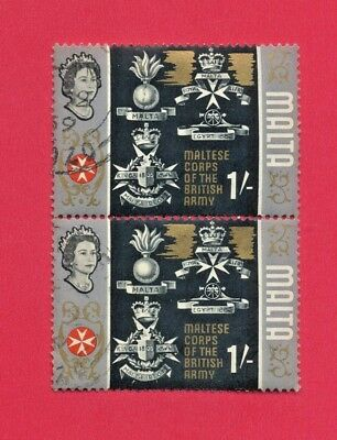 Malta - Two (2) MALTESE CORPS OF THE BRITISH ARMY 1/- Used 1965 QE II Stamps