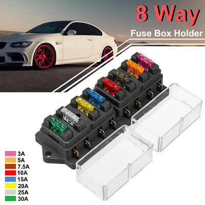 Universal Car Truck 8 Way Circuit Standard Blade Fuse Box Holder Block 12/24V