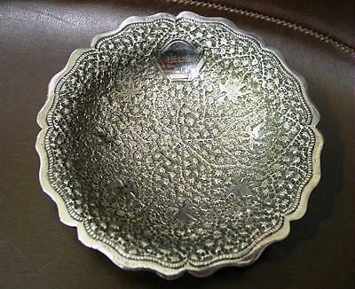 """Vintage Footed Silver Wedding Card Tray Made In India 4 5/8"""" Intricate Pattern"""