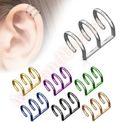 Fake Cartilage Clip On Ear Ring Non Piercing CHOOSE SINGLE OR PAIR