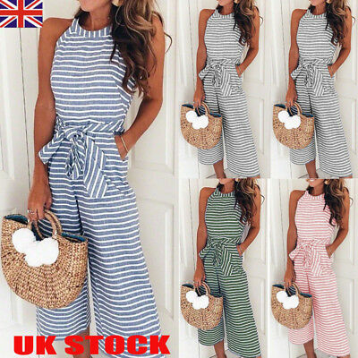 UK Ladies Women Summer Jumpsuit Halterneck Clubwear Wide Leg Pant Stripe Outfits