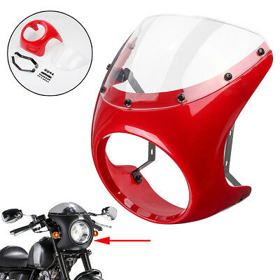7'' Universal Motorcycle Red FOR Cafe Racer Headlight Fairing Screen Windshield