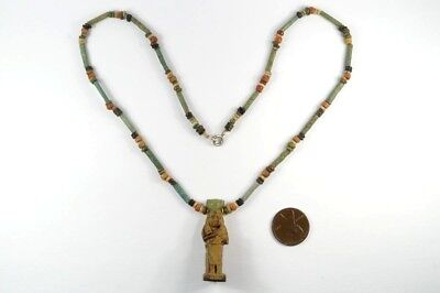 Ancient Egyptian Gold Mounted Faience Isis & Horus Amulet & Bead Necklace