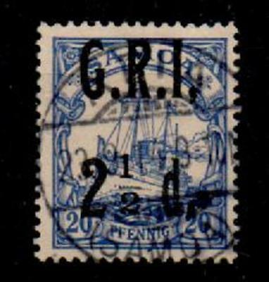 SAMOA SG104d 1914 2½d ON 20pf YACHT WITH COMMA AFTER I VARIETY USED (1403)