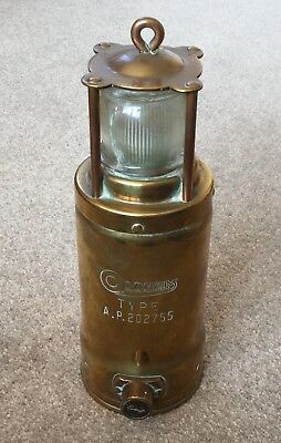 """Scarce """"Oldham"""" Miners Brass Safety Lamp - Type A.P. 202755"""