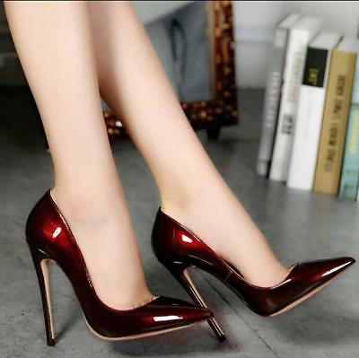 Sexy Wine Womens Patent Leather Pointed Toe Slip On Pumps Shoes Party Formal T55