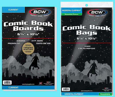25 BCW CURRENT COMIC BOOK RESEALABLE BAGS & BACKING BOARDS Clear Archive Modern