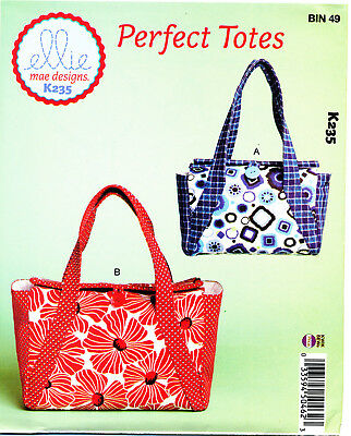 Kwik Sew Sewing Pattern K235 Lined Totes, Bags In Two Sizes & Two Inside Pockets