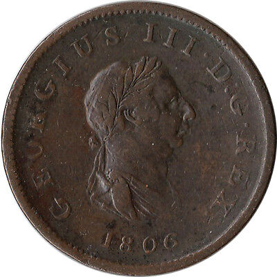 1806 Great Britain (UK) 1/2 Penny Coin George III KM#662
