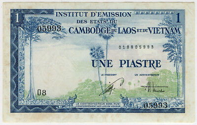 French Indo-China 1954 Issue 1 Piastre Very Crisp Choice Au.pick#105.
