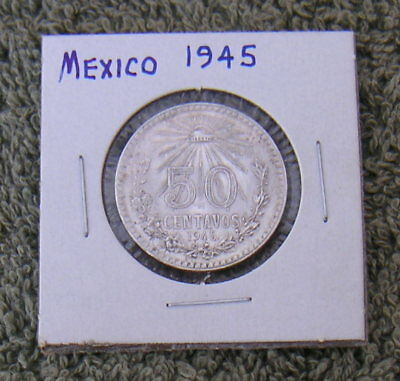 Vintage Mexico .720 Silver Fifty 50 Centavos Cents Old Coin Money Mexican Cash