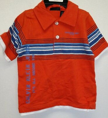 Calvin Klein Jeans Boys Orange Polo Shirt Size 18 Months Blue White Stripes New
