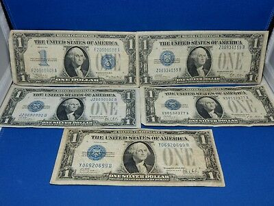 Set of 5 US Silver Certificates 1934, 1928A, 1928B - Very Good to Fine