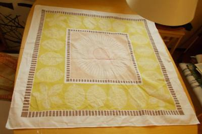 Swedish printed 50s cotton tablecloth, white leaves and flowers on pastel backgr