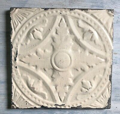 "11"" x 11"" 1890's Wrapped Tin Ceiling Tile Reclaimed Salvage Ivory 212-18"