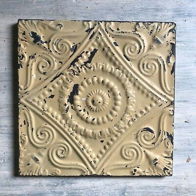 "11"" x 11"" 1890's Wrapped Tin Ceiling Tile Reclaimed Salvage Sage 214-18"