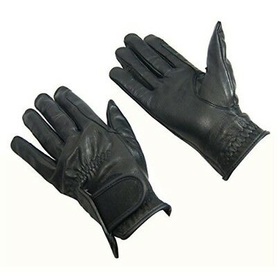 Bitz Horse Rider Bitz Leather Gloves Child Black Medium Horse Riding Wear -