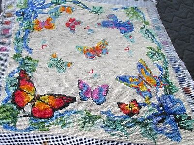 Vintage Hand Embroidered Tapestry Picture Panel -PRETTY BUTTERFLIES